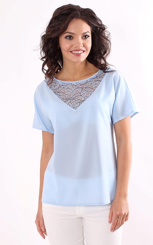 52cd3e1da2f Блузка небесно-голубого цвета купить недорого в интернет-магазине с ...