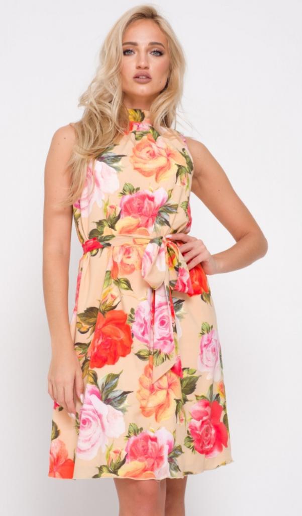 d9ce0b147c1 Платье бежевое с цветами купить недорого в интернет-магазине с доставкой