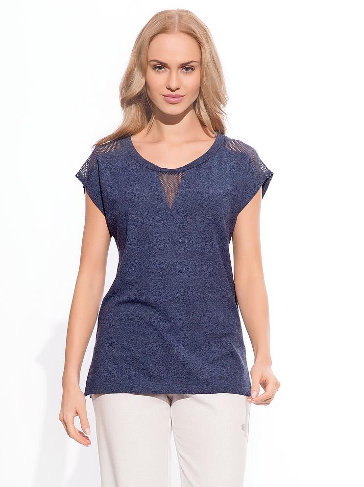 34edc58f2ad Стильная легкая блузка синего цвета. Модель скомбинированна их двух видов  ткани  гладкой и небольших вставок из сетки в области плеч и груди